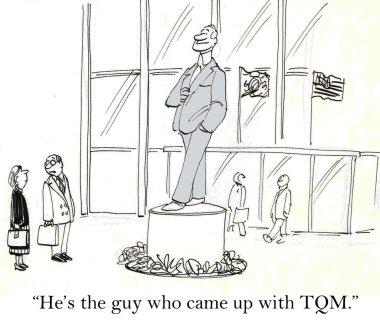 Cartoon illustration people look at the big statue