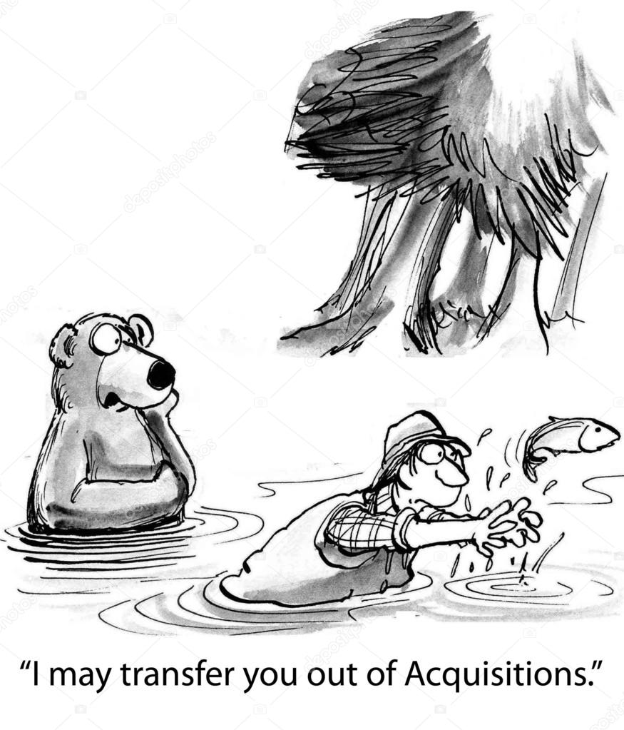 Cartoon Illustration Bear Is Coaching Man In Catching Fish Stock