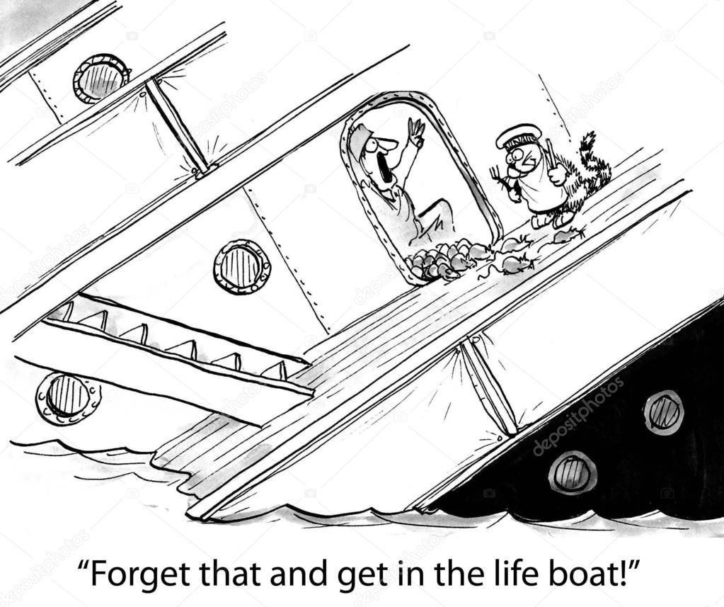 Ilustración De Dibujos Animados Las Ratas Salen Del Titanic Se