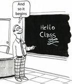 Cartoon illustration teacher wrote on the blackboard