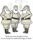 tři santa claus s doutníkem