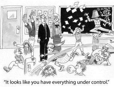 Chaos in the classroom. Cartoon illustration