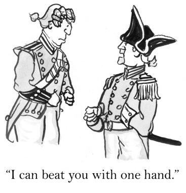 Cartoon illustration dispute between two soldiers