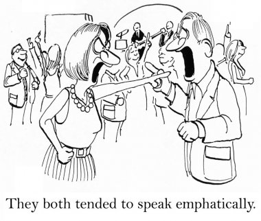 Cartoon illustration. People try to speak emphatically