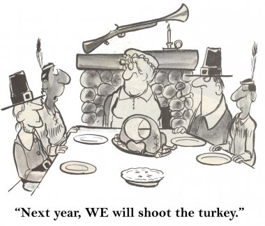 People at the table eat the holiday turkey