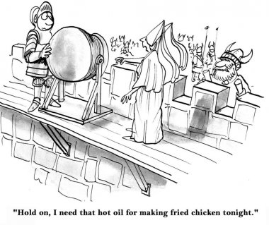 Cartoon illustration. Warrior pouring burning oil on attackers