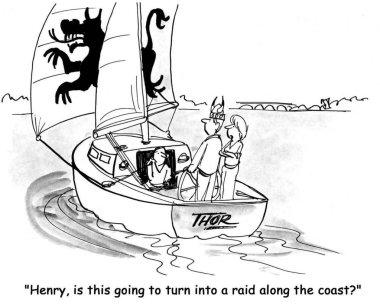 Cartoon illustration. People travel on a yacht