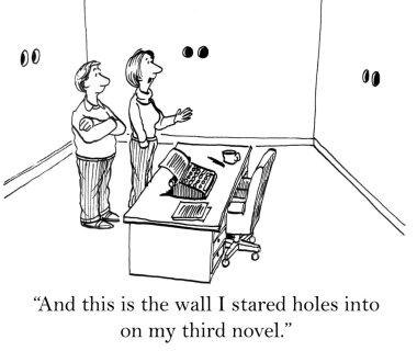 Cartoon illustration. Writer talks about her office