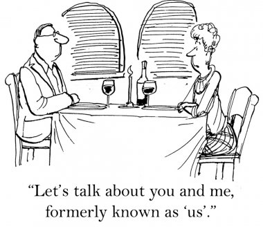Cartoon illustration. Man and woman on a date