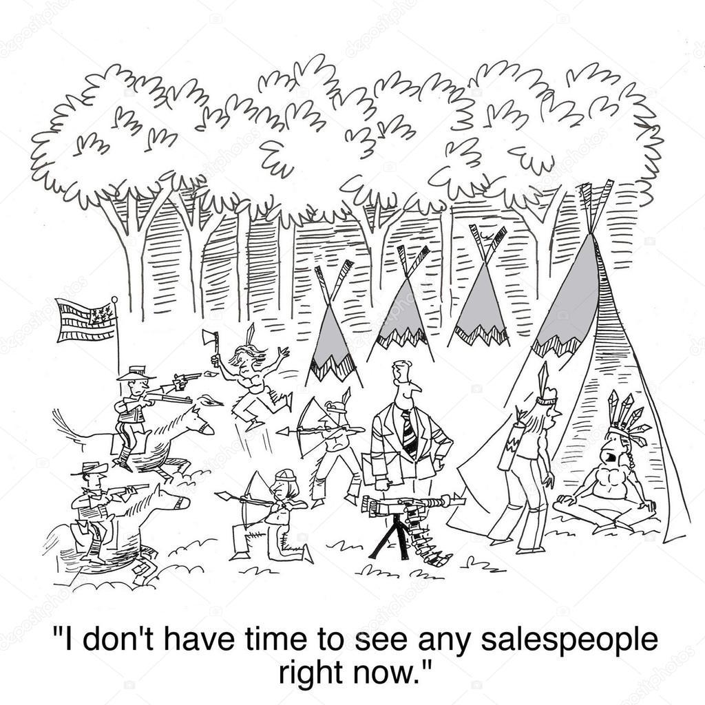 Cartoon Illustration War In The Indian Settlement Stock Photo