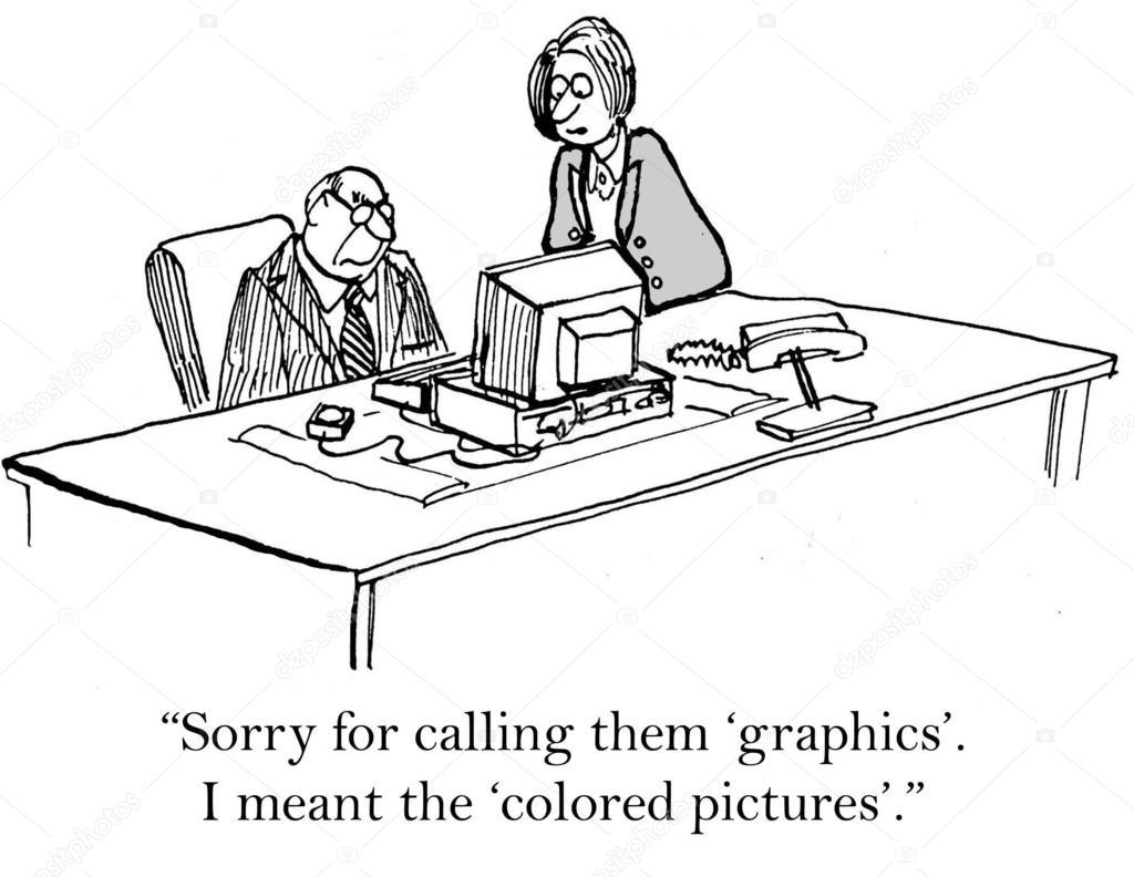 Cartoon Illustration Chef Und Sekretärin Im Büro Stockfoto