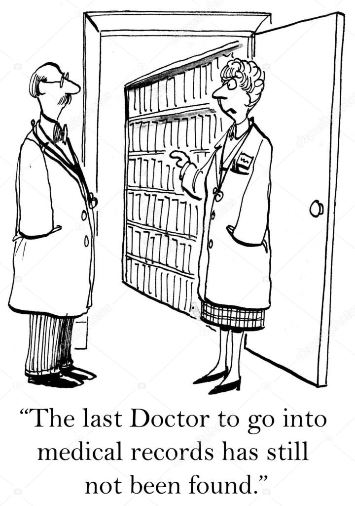 Two doctors before filing cabinet. Cartoon illustration u2014 Stock Photo  sc 1 st  Depositphotos & Two doctors before filing cabinet. Cartoon illustration u2014 Stock ...