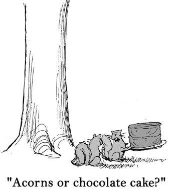 Acorns or chocolate cake?
