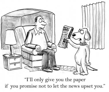 Dog shows his master newspaper