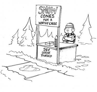 Boy sells snow cones.