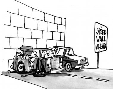 Cartoon illustration. Car crashed into a wall.