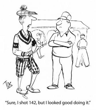 Cartoon illustration. Men play golf