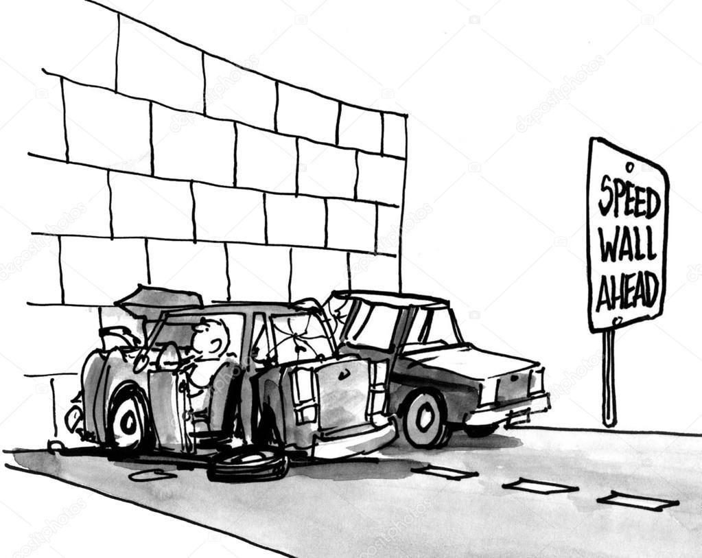 wall hits car