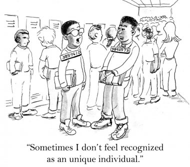 Students with individual numbers. Cartoon illustration