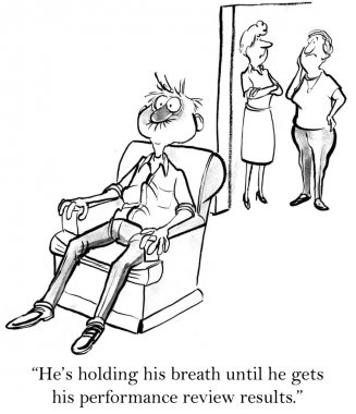 Man held his breath. Cartoon illustration