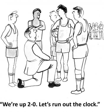 Coach took a timeout in the game. Cartoon illustration
