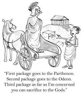 Cartoon illustration. Greek customer needs packages delivered to ancient sites