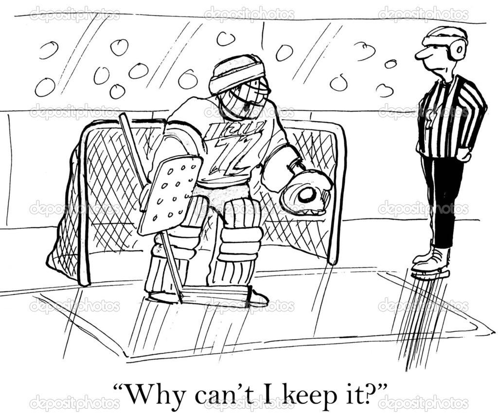 Cartoon Illustration Hockey Goalie And Referee Stock Photo