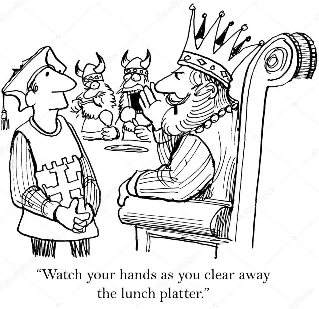 cartoon illustration king is careful not to upset the vikings