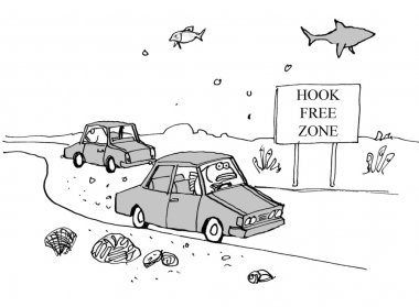 Fish driving the car. Hook Free Zone.
