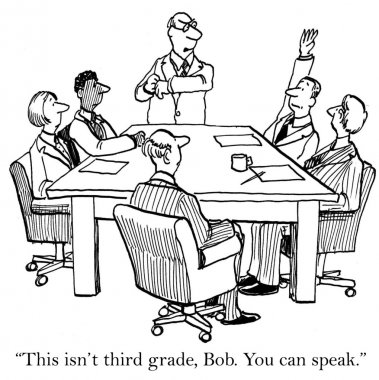Boss tells the asssociate he can speak.