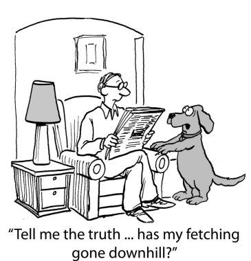Dog  asks the host