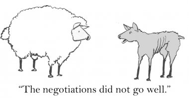 Cartoon illustration - Sheep negotiations