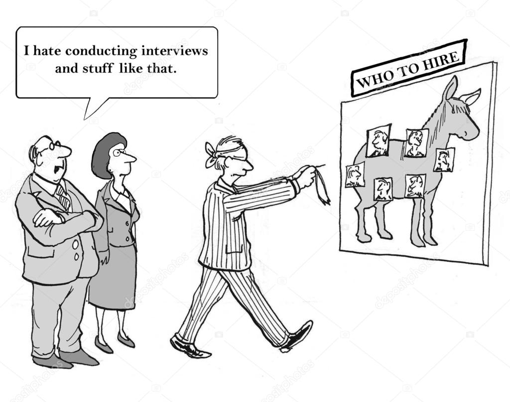 Cartoon illustration - review resumes  Stock Photo #36103573