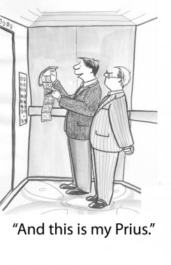 A man in the elevator shows his photos