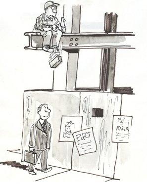 Worker accidentally knocks brick on executive.