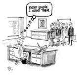 špatné šéf je zaměřen pro svůj tým