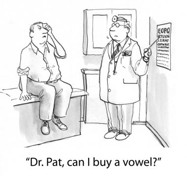 Man is having trouble seeing the optometrist's eye chart