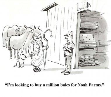 Noah buys bales in stock