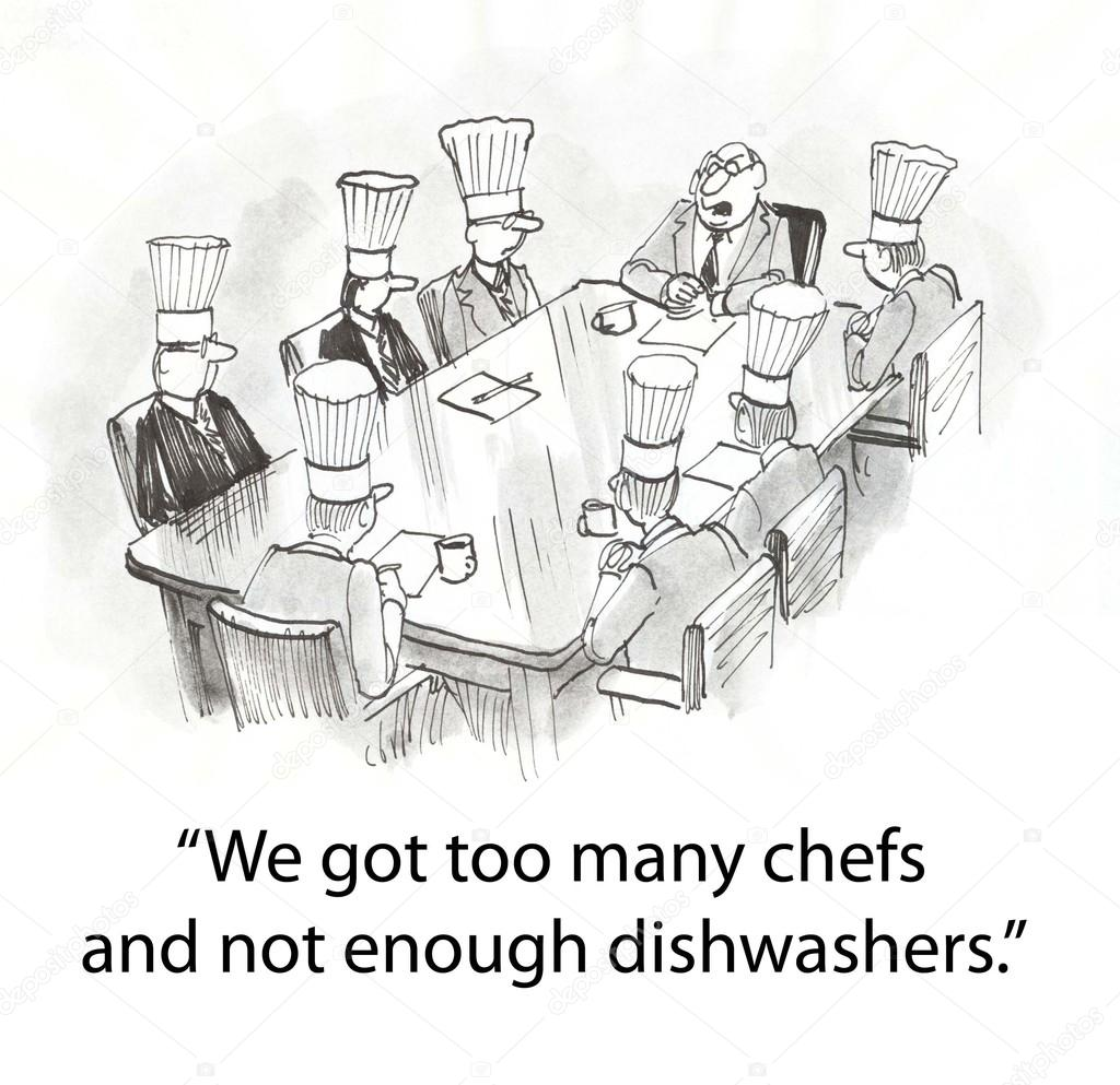 Restaurant have too many cooks in the kitchen — Stock Photo ...