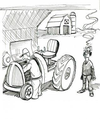 Farmer repairs the  tractor