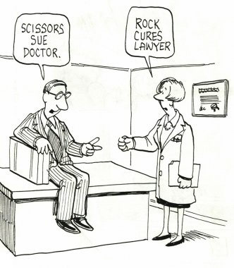 Patient and doctor are playing rock paper scissors