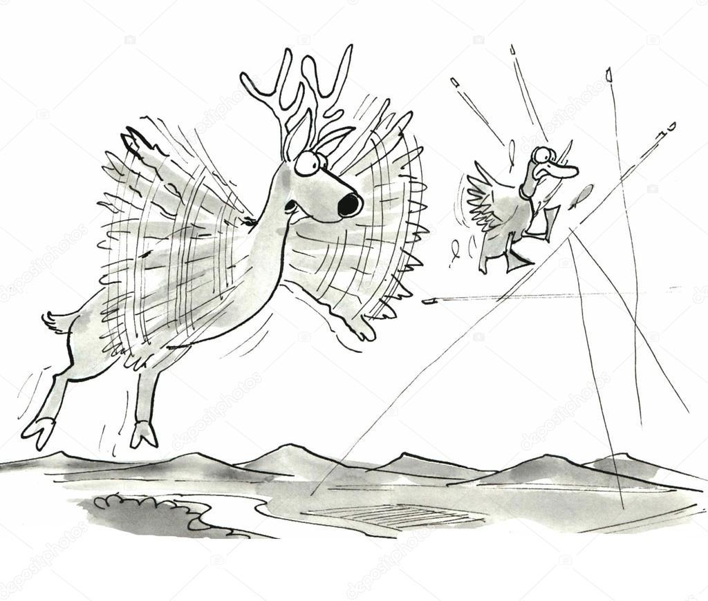 ciervos y pato intentando volar lejos de las balas — Fotos de Stock ...