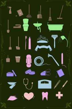 Set of cleaning and healthcare icons in pastel colors