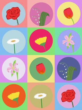 Seamless pattern with cartoon flowers
