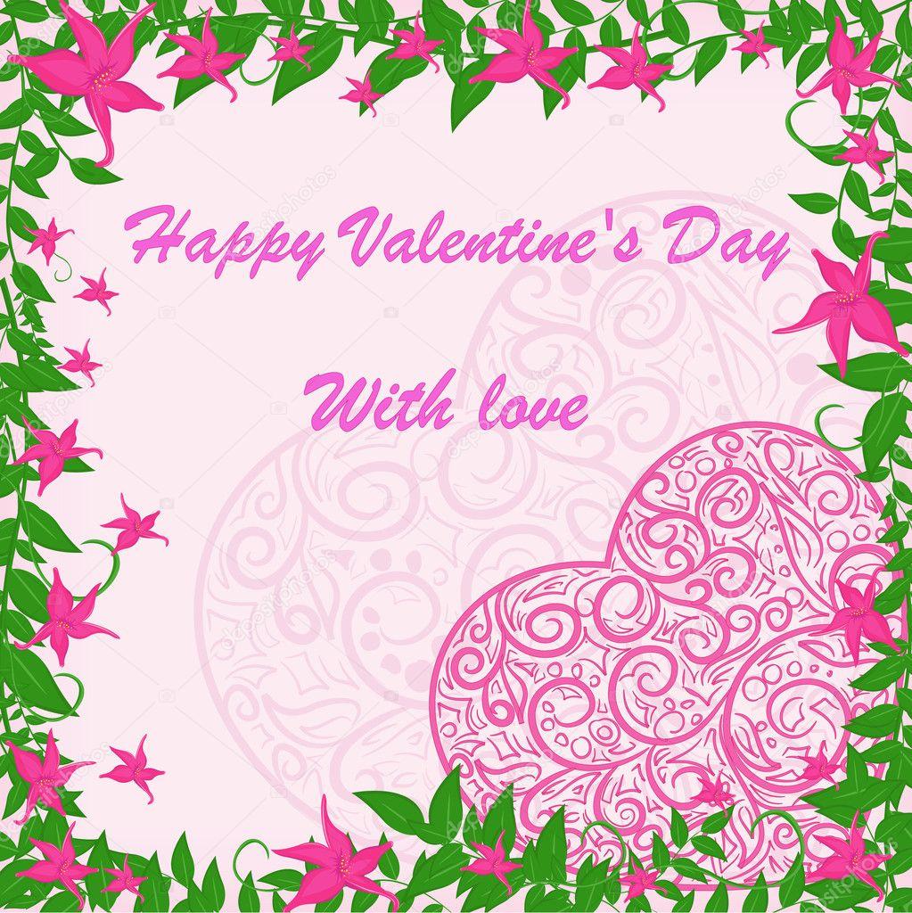 Rosa Herz mit rosa Blumen Rahmen — Stockvektor © Marishayu #19118099