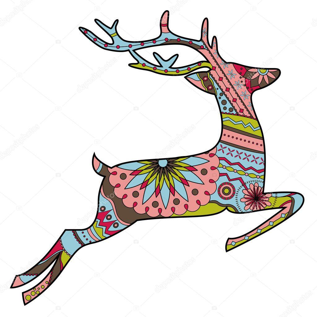 Jumping deer in Christmas colors