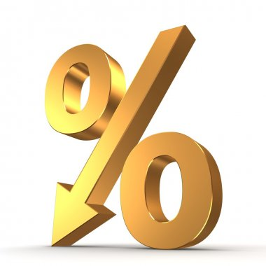 Golden percentage symbol with an arrow down