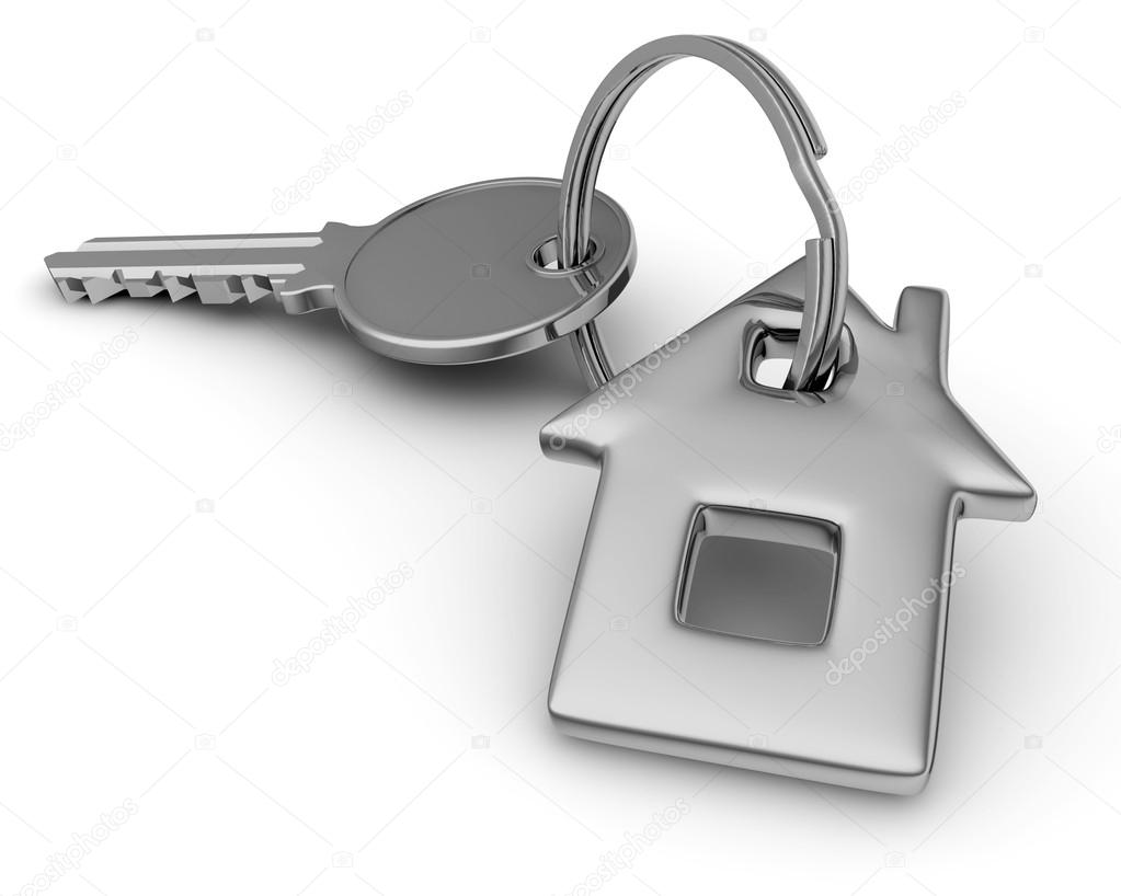 Key of house isolated on white.