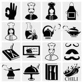 Fotografia set di icone di chef