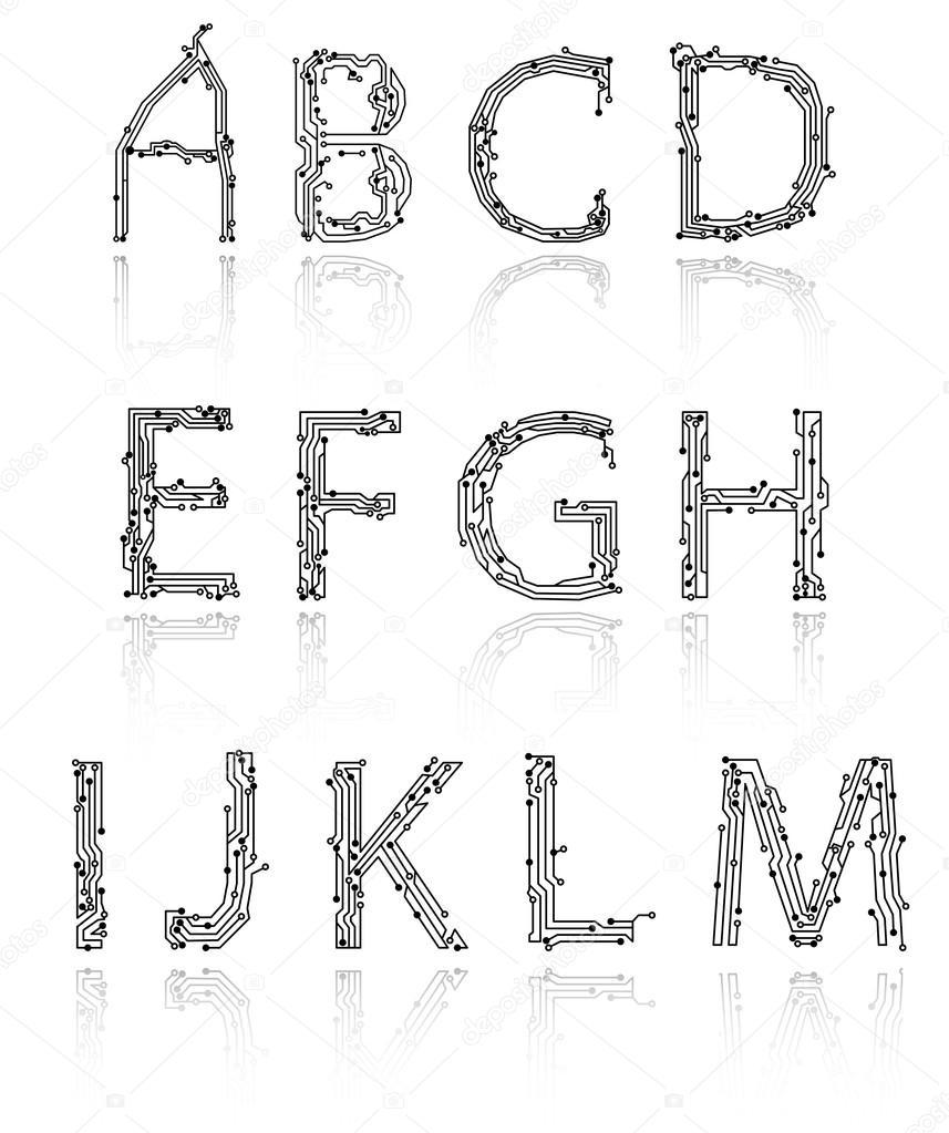 Alphabet of printed circuit boards — Stock Vector © Alexynder #18422013